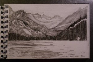 Pencil Drawing of  Swift Current Lake, Glacier National Park