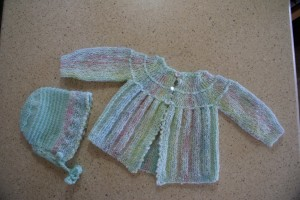 Knit Baby Sweater and Bonnet