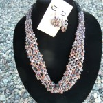 Beaded Netting Necklace and Earrings