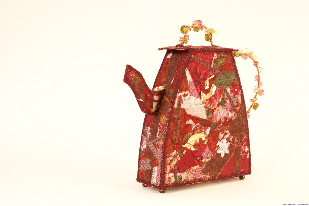 3-D fabric teapot sculpture