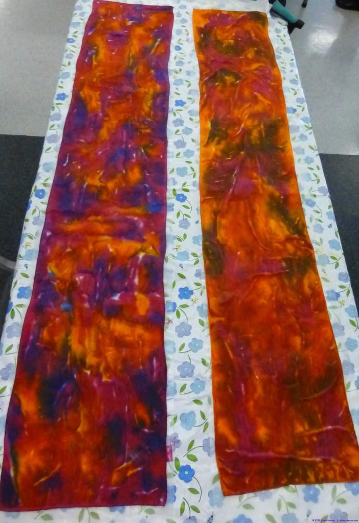 Dye Painting Silk Scarves