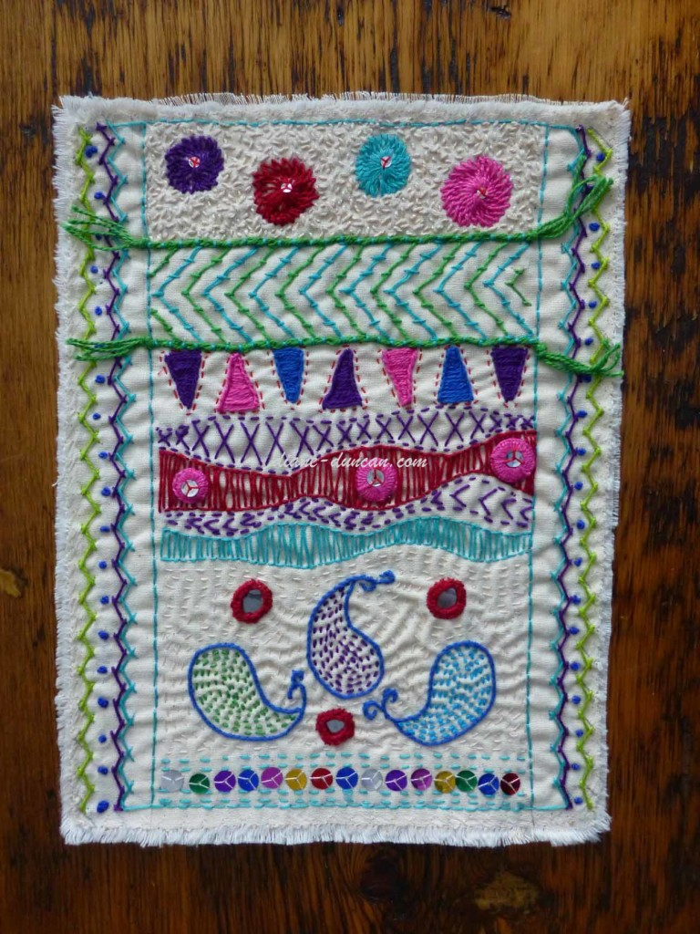 Fibre Art Journal Page - Stitches from India