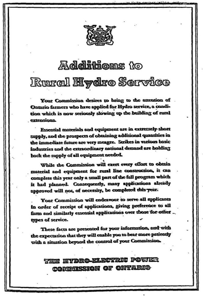 Rural Hydro Service Message June 1946