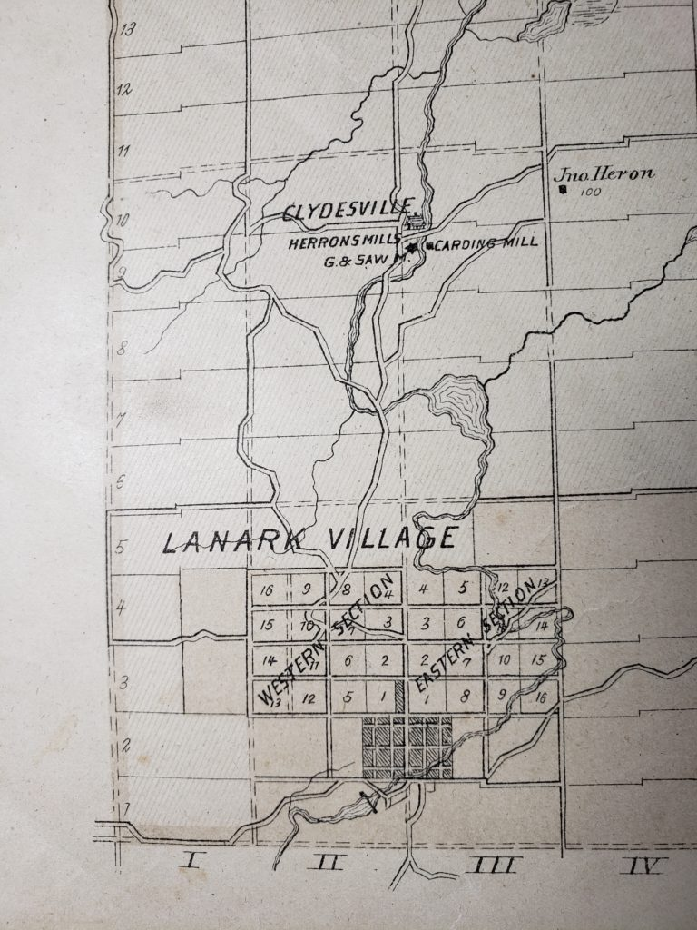 1881 Map of Properties Lanark Twp